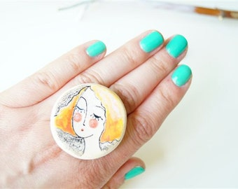 Coctail Ring, Hand Painted Ring, Ceramic Jewelry