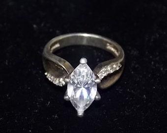 Vintage Estate Large Sterling Silver Faux CZ Diamond Ring 6.1g #E737