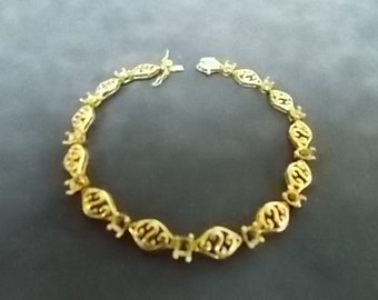Women's Vintage .925 Sterling Silver Bracelet With Gold Tone 12.79g #E1095