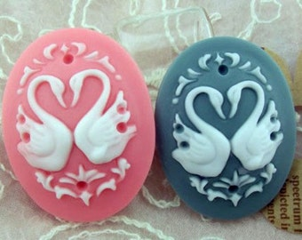 4pcs Resin Swan cabochon for Pendant Charm Craft Jewelry.