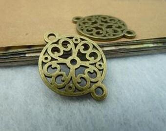 60pcs 18x24mm Antique Bronze Lovely Filigree Flower Base Setting Charm Pendants c2645-51