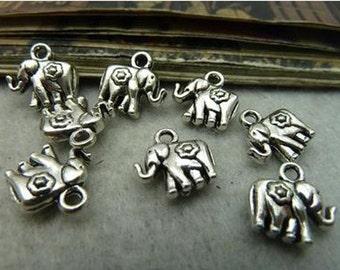 50pcs 12x12mm Antique Silver Lovely Elephant Charm Pendant. c6118