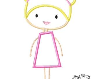 Simple girl With Hair in Buns  Machine Embroidery Applique Design