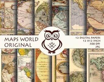 Digital Paper Maps Original - Old maps textures digital paper,Vintage background, Paper original color, Maps pictures,Instant Download