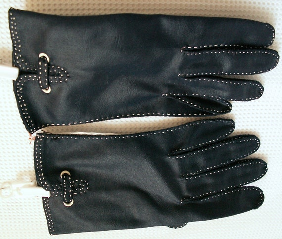 competitive price ef709 6b3f6 vintage ladies gloves fownes navy blue look of leather weddings showers  luncheons de.
