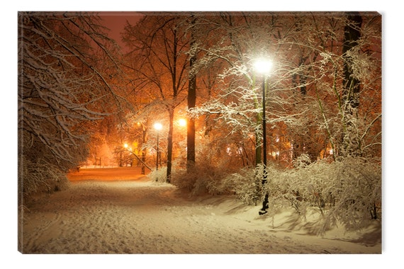 Winter in Park Warm Light Canvas Wall Art Print, 5 Stars Gift Startonight Home and Kitchen Decor