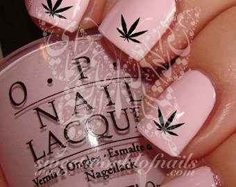 Weed leaf nails etsy hash weed leaf nail art nail water decals transfers wraps prinsesfo Image collections