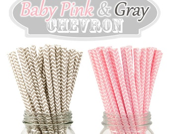 Baby Pink and Gray Chevron Paper Drinking Straws - Combo of 50 Chevron Drinking Straws