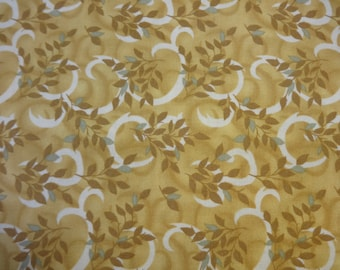 Gold w/Brown & Teal Leaves Fabric 401