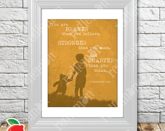 The Wisdom of Pooh Sentiment Nursery Print Orange