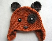 Ginger crochet baby hat dog hat animal crochet hat hat with brown ears puppy hat