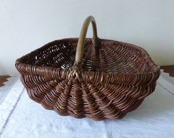 Vintage French Hand Crafted,  Large Bent Twig, Gathering Basket