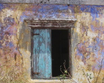 Open window at a country house in Curaçao, faded colours