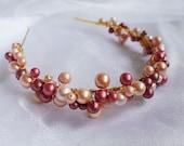 Rose pearl tiara Peach shades tiara Bridal wreath Pagan handfasting Wedding hairpiece UK seller