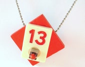 Thirteen inductor rummy o red recycled necklace techie geek