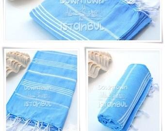 Beach Towel SET of 3 - Turkish Bath Towel Peshtemal Towel Fouta Towel Wrap Bathroom Towel Bath French Linen Towel  Beach Sarong Towel Blue