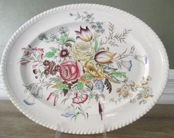 "Windsor Ware ""Garden Bouquet"" Oval English Transferware Platter"