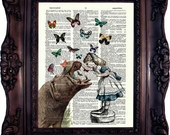 Alice in Wonderland Print. Alice and Hippo Print on Vintage Book Page. Vintage Dictionary art print. Alice Altered Art. Wonderland. Code:533