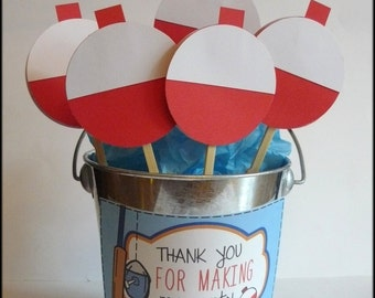 Fishing Party Cupcake Toppers - Fishing Bobbers, Party Decorations, Birthday Party, Baby Shower