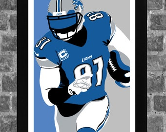 Detroit Lions Calvin Johnson Portrait Sports Print Art 11x17