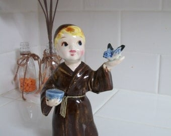 Vintage Monk Figurine with Blue Bird in Hand and Bowl