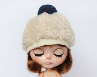 Cream Hat for Blythe - Beret - blythe accessories