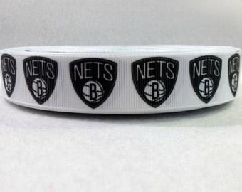 7/8 Brooklyn Nets Grosgrain Ribbon