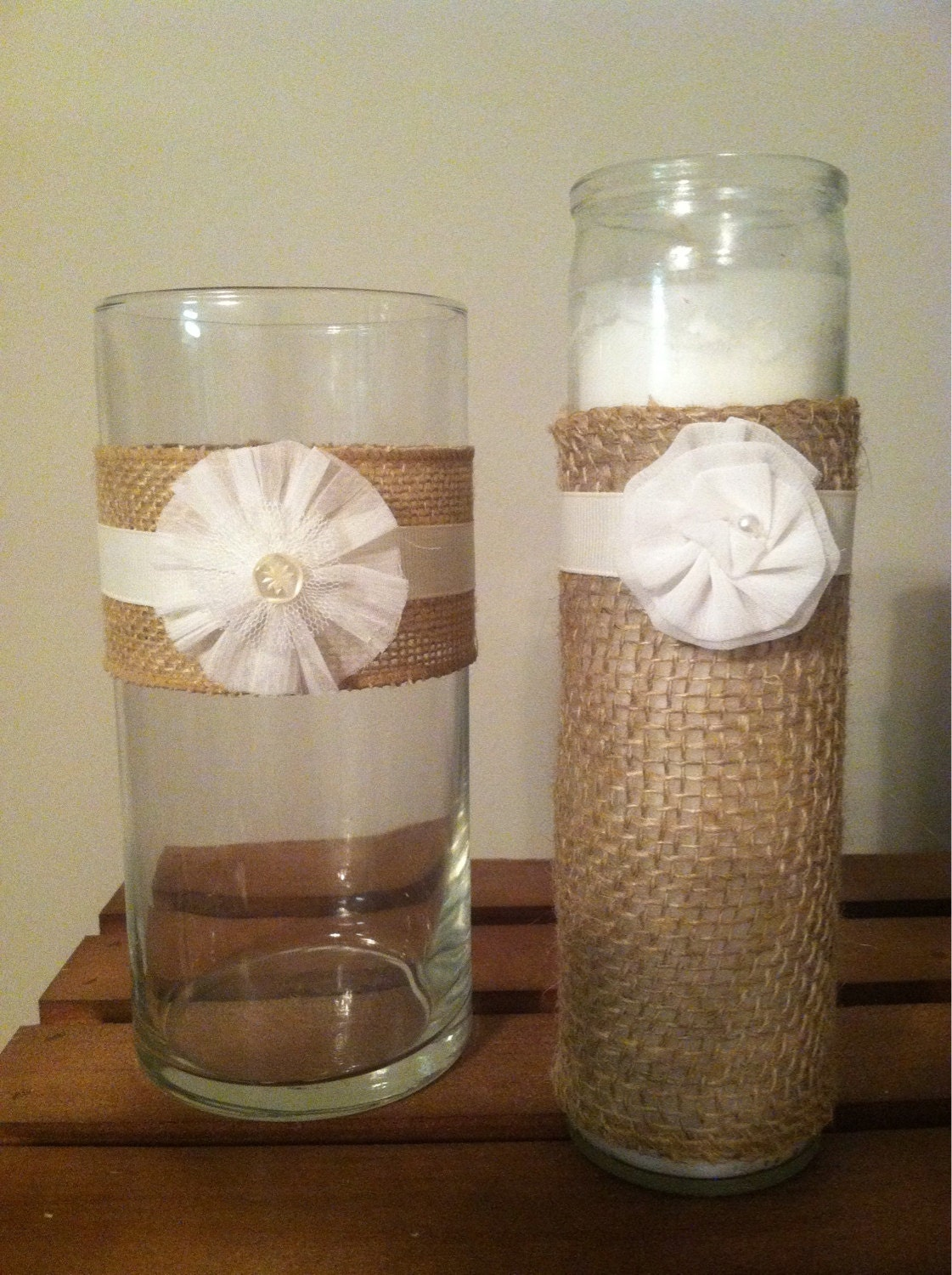 SALE Rustic Wedding Decor Burlap Candle And By KatieRoseCreationz