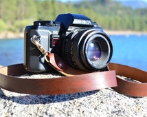 Leather Camera Strap Handmade Personalized Oiled Leather Camera Strap by TahoeMade - with Lobster Swivel Clasps for Quick Attachment