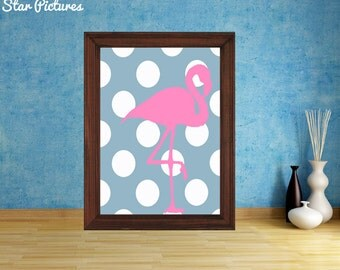 Pink Flamingo poster. Wall art decor. Printable art. Flamingo on a blue colour background.