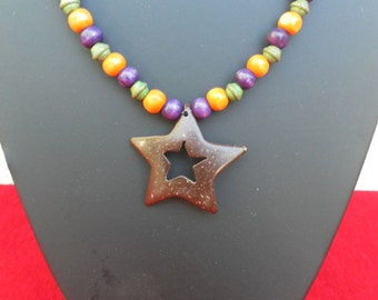 Wood with star necklace