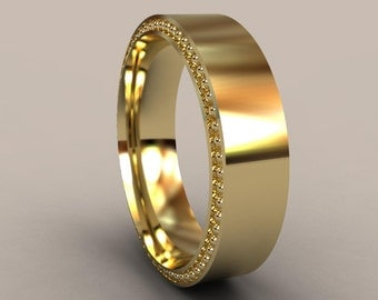 Yellow Gold 6mm Mens Wedding Band, Recessed Beading, 14kt Gold Designer Mens Wedding Ring, Simple Mens Wedding Ring, Rustic Mens Ring