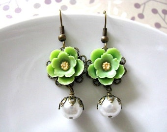 Green Yellow Flower Earrings, Vintage Style Green Yellow Cherry Blossom With White Glass Pearl Earrings, Bridal Earrings, Wedding Earrings