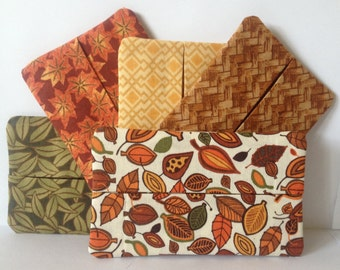 5 Piece travel tissue cover set - Autumn Leaves