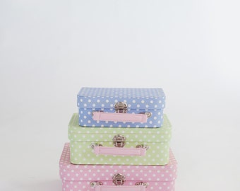Photo Prop Polkadot Patterned Suitcases