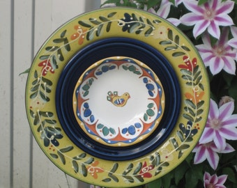"Repurposed Glass Garden Art - ""The Santa Fe"" is a Hand Painted Pottery Garden Flower   42"
