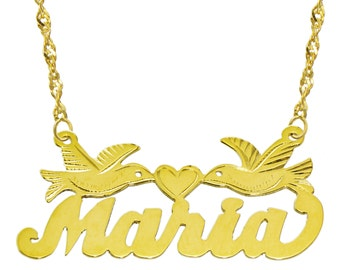 14K Yellow Gold Personalized Name Plate Necklace - Style 12