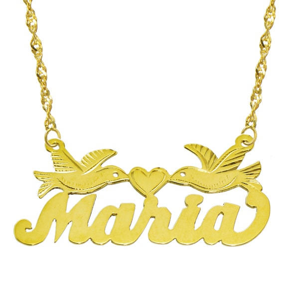 14k yellow gold personalized name plate necklace style 12