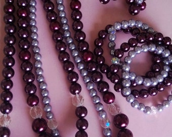 Lucious wine and mauve pearls.