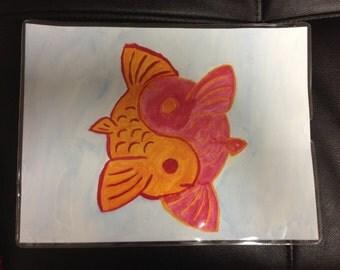 Red & Orange Yin-Yang Koi Fish Watercolor Painting