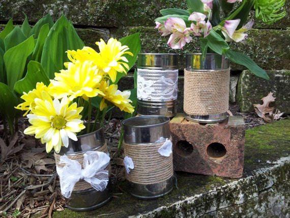 Items Similar To SALE Set Of 4 Burlap And Lace Upcycled Tin Cans Great For Wedding Centerpieces