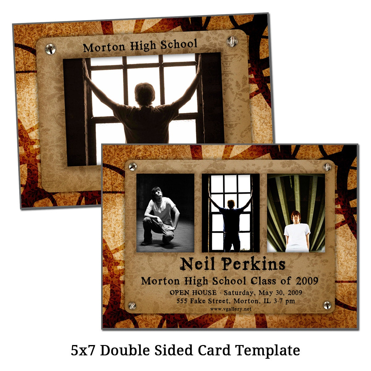 5x7 double sided card template photo lineup digital file. Black Bedroom Furniture Sets. Home Design Ideas