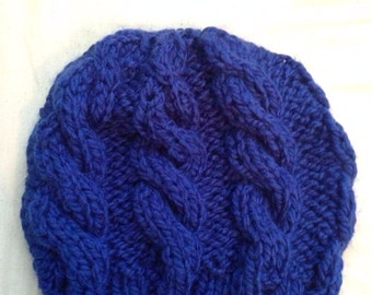 Blue chunky cable knit hat