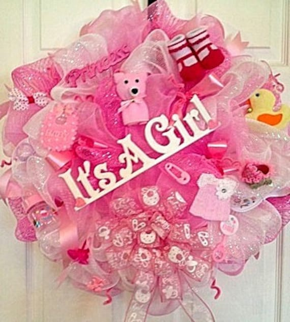 Baby girl deco mesh wreaths it 39 s a girl by for Welcome baby home decorations