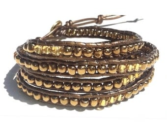 Gold and Bronze Wrap Bracelet