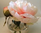 faux  flower arrangements in acrylic water, peach peony, silk flower arrangement, peonies, round vase