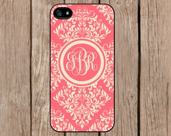 iPhone 6 case, iPhone 6 plus case, iPhone 5c case, iPhone 5s case Samsung Galaxy S5 S4 S3 Personalized Monogram Demask Light Red Beige M171