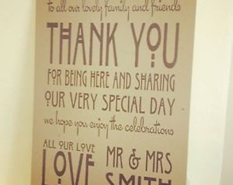 1 Personalised Vintage/Shabby Chic Manilla A3 Wedding Thank You Sign-unbacked - FREE Postage