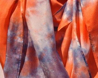 Silk Scarf - Hand Dyed:  (Blueberry & Orange)