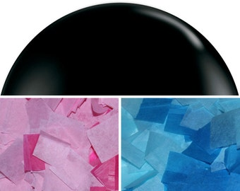 "Gender Reveal Balloon 36"" - Black balloon filled with Pink or Blue confetti"